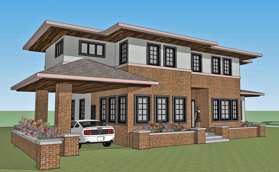 rash studio architect north san gabriel ca new residence modern prairie preliminary conceptual rendering