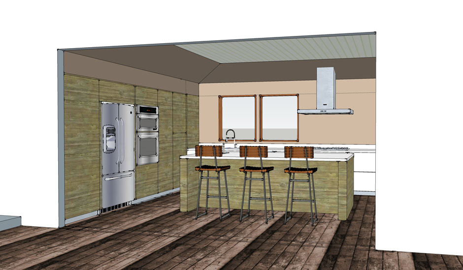 walnut modern kitchen remodel diamond bar euro cabinets germany dekton solid surface countertops architect rash studio 2 works in progress drywall studs rewire plumbing concept rendering